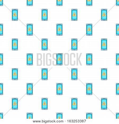 Warning on mobile phone pattern. Cartoon illustration illustration of warning on mobile phone vector pattern for web
