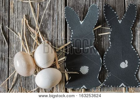 Easter Composition With Rabbit And Eggs