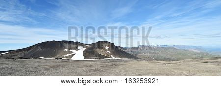 Westfjords mountains with blue sky in Iceland