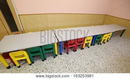 Refectory Classroom Nursery With Small Benches