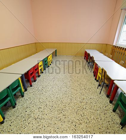 Lunchroom With Tables And Small Chairs For Children