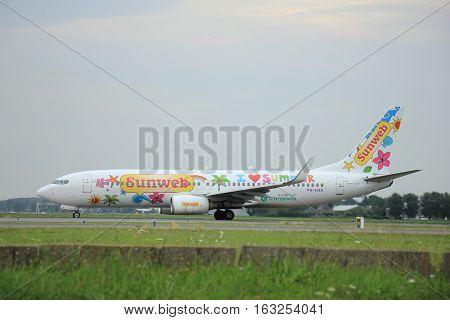 Amsterdam The Netherlands - August 9 2015: PH-HZX Transavia Sunweb Boeing 737-800 taxing to the Polderbaan runway