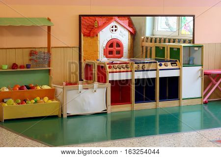 Model Of A Miniature Kitchen And Stall Greengrocer In The Kinder