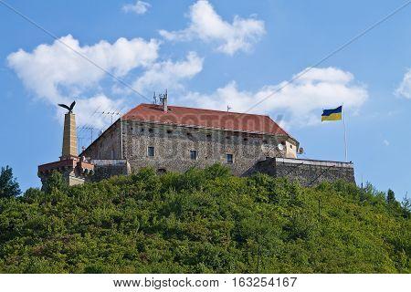 Ukraine Mukachevo Palanok Castle from the 14th century on top of the mountain.
