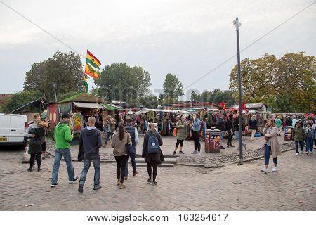 Copenhagen, Denmark - September 26, 2016: People on Pusher Street in the freetown district Christiania