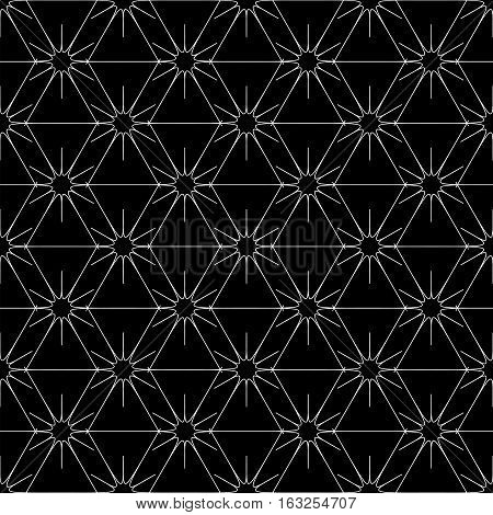Rhombus and star seamless pattern. Fashion graphic background design. Modern stylish abstract texture. Monochrome template for prints textiles wrapping wallpaper website. Vector illustration.