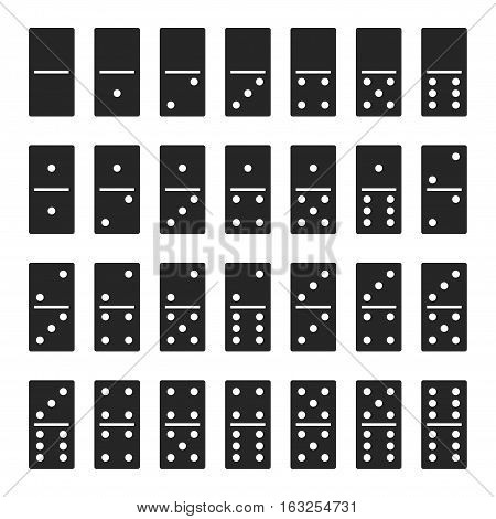 Dominos bones set 28 pieces for game - isolated vector illustration