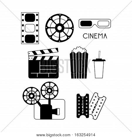 Vector Illustration of Movie Elements and Cinema Icons