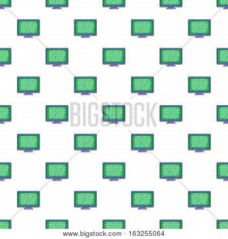 Binary code on monitor pattern. Cartoon illustration illustration of binary code on monitor vector pattern for web