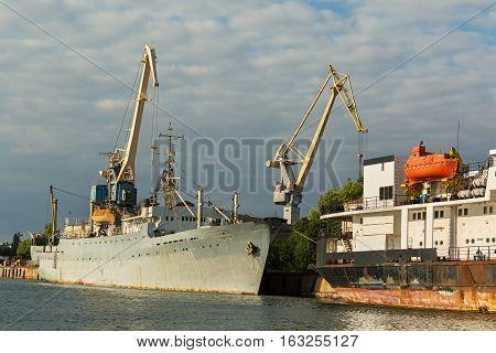 Sevastopol, Russia - June 09, 2016: Fishing trawler Zhukovsky in the Bay Black Sea.