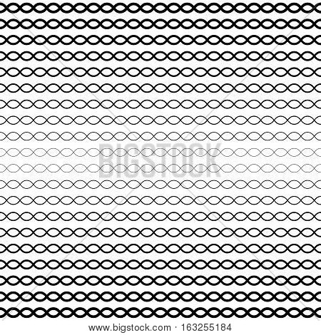 Vector seamless pattern, horizontal wavy lines. Simple illustration of DNA chain. Monochrome background with halftone transition effect. Black & white repeat texture. Design for prints, digital projects, decoration, textile, furniture, cloth, web