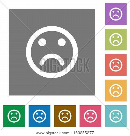 Sad emoticon flat icons on simple color square backgrounds