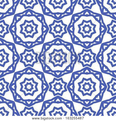 Simple seamless pattern with a blue pattern on a white background in the form of rosettes. Retro backdrop geometric and stylized flowers.