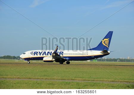 Amsterdam the Netherlands - June 9th EI-EMA Ryanair Boeing 737-8AS(WL) takeoff from Polderbaan runway destination Dublin Ireland