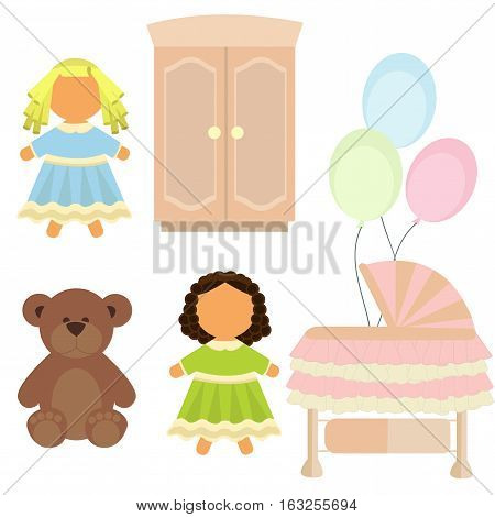 Toys and fyrniture for baby-girl in flat style
