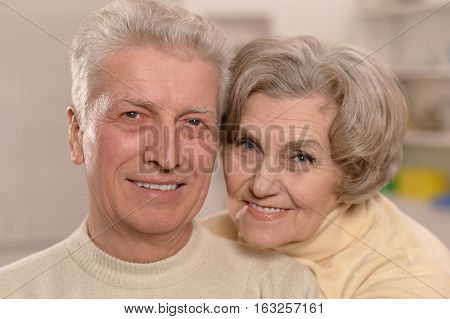 mature couple in love,  happy together, close up portrait