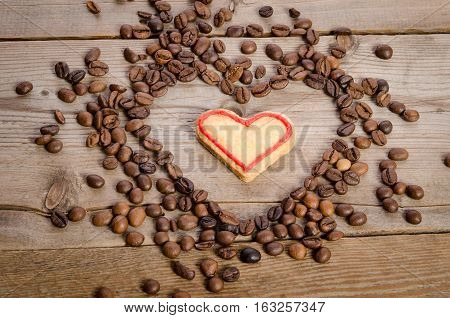 Frame From Coffee Beans And Cookies-heart Inside It