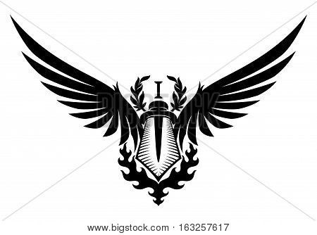 Sword and wings on a white background.