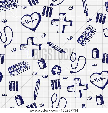 Healthcare and medicine. Vector doodle seamless pattern with thermometer, heart, stethoscope and pills. Medical hand drawn icons on checkered background.