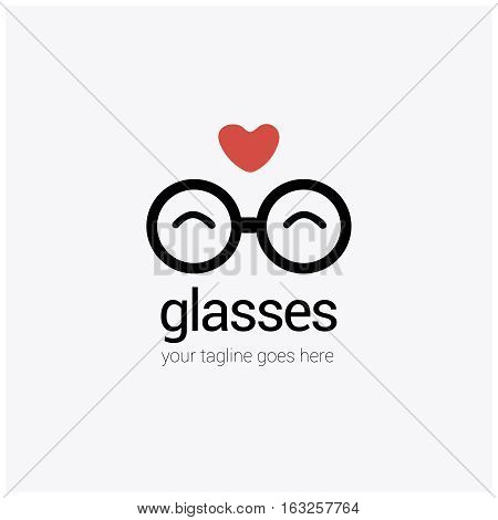 round eye glasses Logo with a heart, love, isolated on background.cartoon simple flat sign.Business, internet concept.Trendy optic vector symbol design or button to mobile app.icon illustration.