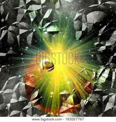 Abstract cracked 3d background with rays and stars. Orange, gold, green and black background resembling an explosion in space.
