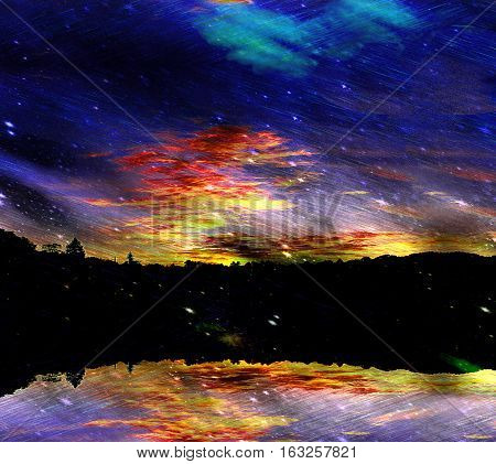 Dark night landscape with falling stars and meteorites. Natural background with dark dramatic sky with clouds, silhouettes of trees and reflective landscape