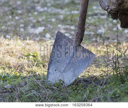 old shovel in the meadow  in the farm