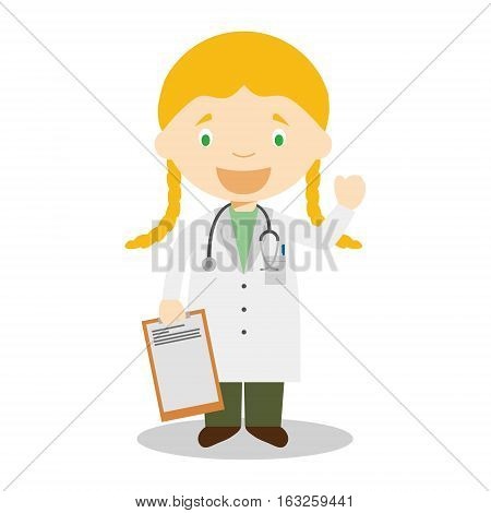 Cute cartoon vector illustration of a female doctor