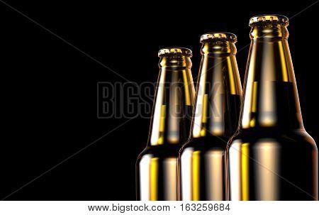 Close up bottles of beer on a black background. 3D