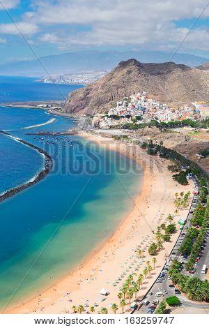 aerial view of coast line Las Teresitas beach and San Andres village, Tenerife