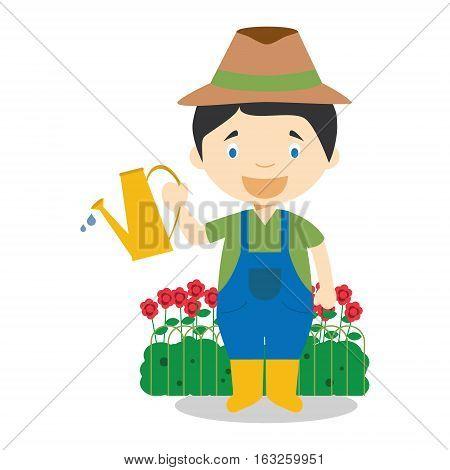 Cute cartoon vector illustration of a gardener