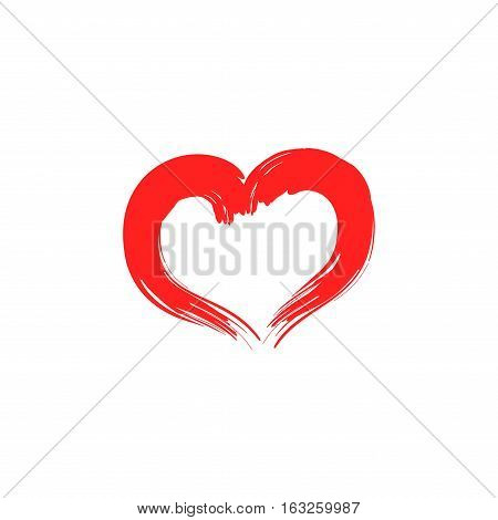 Heart isolated. Red sidn on white background. Romantic silhouette symbol linked join love passion and wedding. Colorful mark of valentine day. Design element. Vector illustration