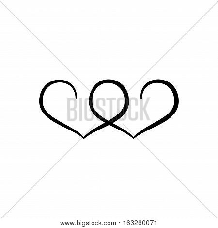 Heart two ribbon. Romantic love isolated icon on white background. Monochrome symbol of valentine day. Template for t shirt apparel card poster. Design element. Vector illustration