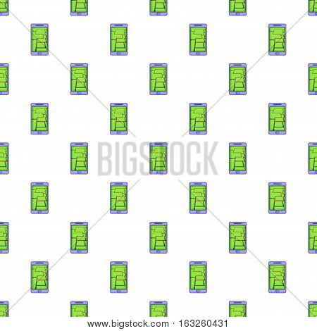 GPS map on phone pattern. Cartoon illustration of GPS map on phone vector pattern for web