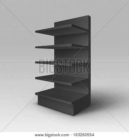 Vector Black Blank Empty Exhibition Trade Stand Shop Rack with Shelves Storefront Isolated on Background