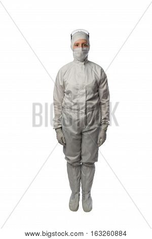 woman in a protective suit stands exactly on a white background