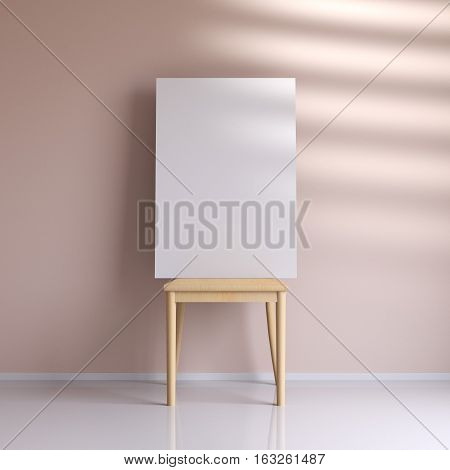 Mockup poster in the interior with a chair, 3d rendering