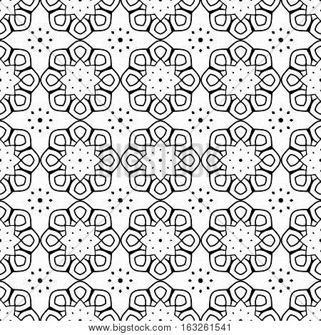 Seamless pattern of black arabesques on a white background. Rosette serial rhythmic pattern.