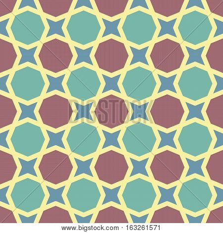 Seamless pattern in retro style with simple geometric shapes. Mosaic of the four-pointed stars and octagons in pastel colors with brown and turquoise.