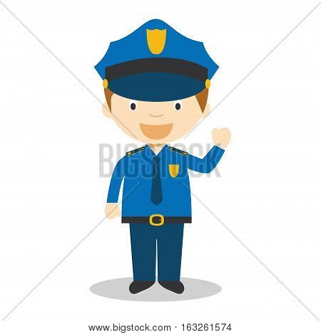 Cute cartoon vector illustration of a policeman