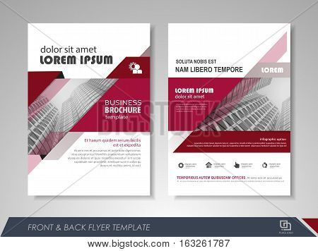 Red annual report brochure flyer design template. Leaflet cover presentation abstract background for business magazines posters booklets banners. Layout in A4 size. Easily editable vector format.