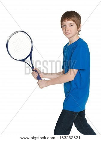 A portrait of a boy which plays tennis
