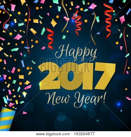 Happy New Year 2017 greeting card. Festive illustration with colorful confetti, party popper and spangles on dark blue background. Vector.