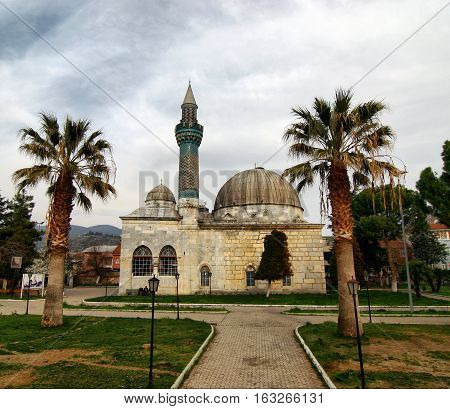 Green Mosque in Iznik (Nicaea)/Bursa. The mosque was built in 1371-1378. It was damaged in 1922 during the Greco-Turkish War and restored between 1956 and 1969.