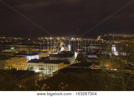 Brno city from Spilberk castle Central Europe - Czech Republic.