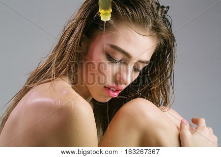 Girl With Wet Hair And Shampoo