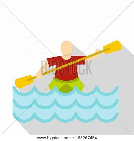Kayaking water sport, icon. Flat illustration of kayaking water sport vector icon for web