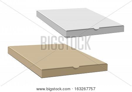 Realistic 3d isometric pizza cardboard box. closed, side and top view. Flat style vector illustration isolated on white background. brown