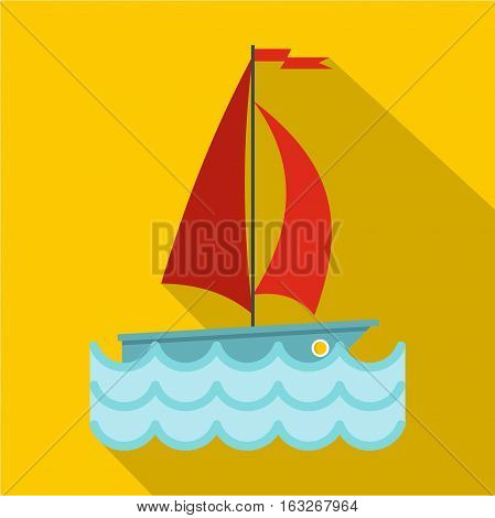 Yacht with red sails icon. Flat illustration of yacht with red sails vector icon for web