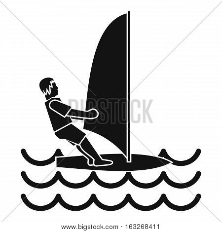 Man on windsurf icon. Simple illustration of man on windsurf vector icon for web